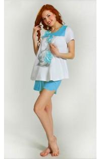 Пижама -  арт. D009 белый-голубой