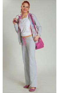 Спортивный костюм трикотаж - арт. 038 светло-серый меланж/розовый