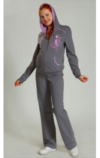 Спортивный костюм трикотаж - арт. 038 темно-серый/сирень