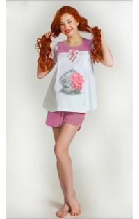Пижама -  арт. D009 белый-розовый