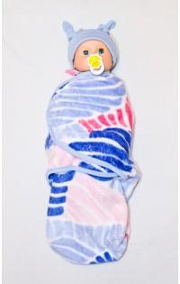 Пеленка-плед на липучках из искусственного меха - ХИТ СЕЗОНА! Розово-голубой