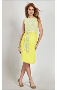 Платье  нарядное - арт. 685 желтый.