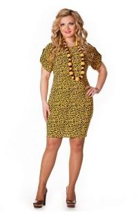 """Платье (большие размеры) - арт. """"Лола"""" горчица."""
